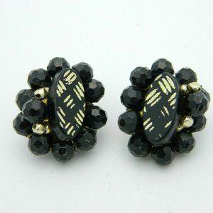 HONG KONG Black Gold Acrylic Bead Clip Earrings